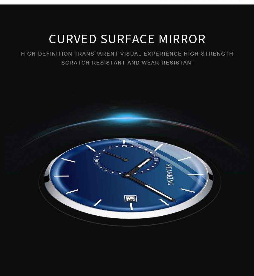 HTB1vCH9d3aH3KVjSZFjq6AFWpXaJ STARKING Dress Men Watch Steel Mesh Band Quartz Analog Wristwatch 3ATM Waterproof Curved Glass Blue Male Clock Relogio Masculino