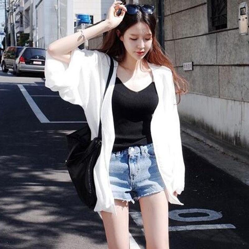 1f867db7158de CHICEVER White Blouse 2018 Summer V Neck Wrist Batwing Sleeve Loose Big Size  Sunscreen Women s Tops Korean Fashion Clothing New