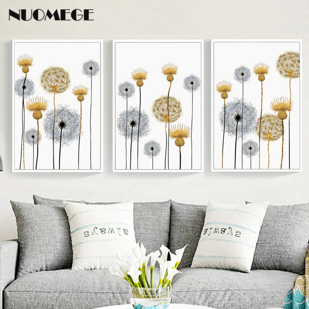 NUOMEGE Nordic Abstract Dandelion Wall Art Picture For Home Decoration Beautiful Flower Canvas Posters And Prints Modern Decor