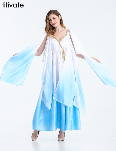 Amazing TITIVATE Ancient Greek Goddess Fancy Party Halloween Cosplay Roman Princess  Costume Arabic Women Elegant Carnival Long