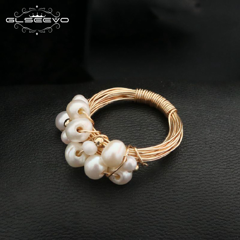 GLSEEVO Natural Fresh Water Baroque White Pearl Rin