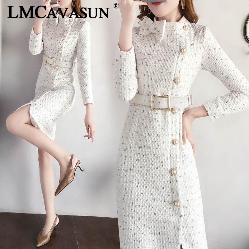 LMCAVASUN Vestidos Lady Bow Dress Winter Women Collar Trim Woolen Tweed Dress Long Sleeve