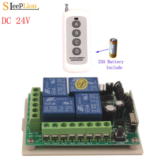 Sleeplion 100 Meter 24V 4CH Remote Switch Electric Door Remote Control Switch Universal 24V 4CH 315MHz/433MHz Transeiver
