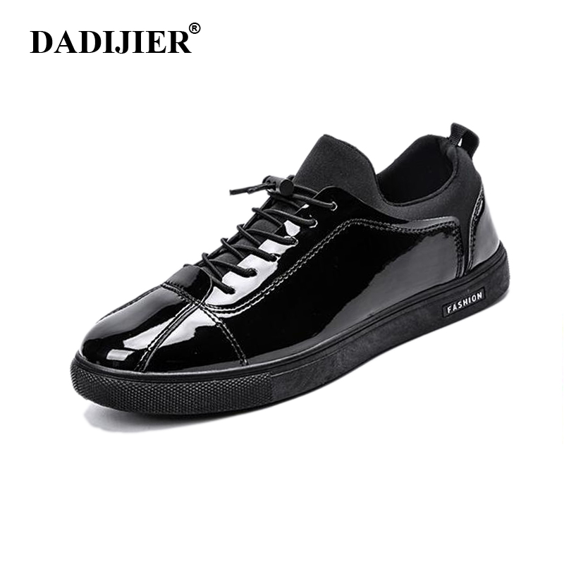 New 2017 Men Shoes Casual Breathable Fashion Patent Leather Shoes Comfortable Brand White Black shoes ST194 micro micro 2017 men casual shoes comfortable spring fashion breathable white shoes swallow pattern microfiber shoe yj a081