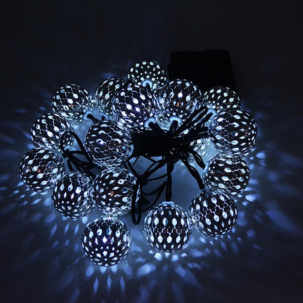 Metal Ball String Lights : Xmas 1pc 20 Head Of Solar Energy Ball String 20LED Metal Ball Christmas Light Xmas Decoration ...