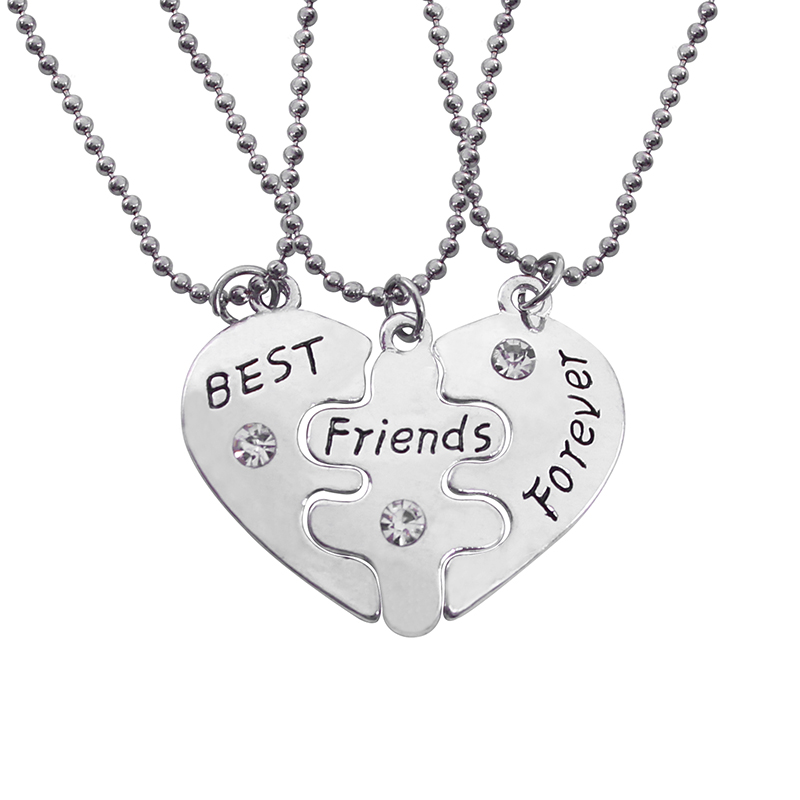 3 PC / Set Best Friend Forever BFF Set di collane a triplo pendente a forma di cuore per uomo Donna Collana regalo di Natale all'ingrosso