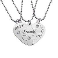 3 pc/set Best Friend Forever BFF Heart-Shaped Pingente Triplo Colares Conjuntos Para Mulheres Dos Homens Colar de Presente de Natal Atacado
