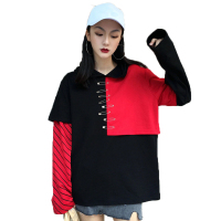 Ulzzang Boyfriend Style Fight Color T Shirts 2017 Autumn Korean Harajuku Hooded Shirts Female Personality Long