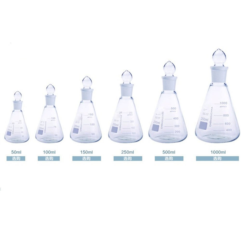 conical laboratory flasks - Thick Walled Conical Flask With Stopper Erlenmeyer Flask For Chemistry Laboratory 50-1000ml