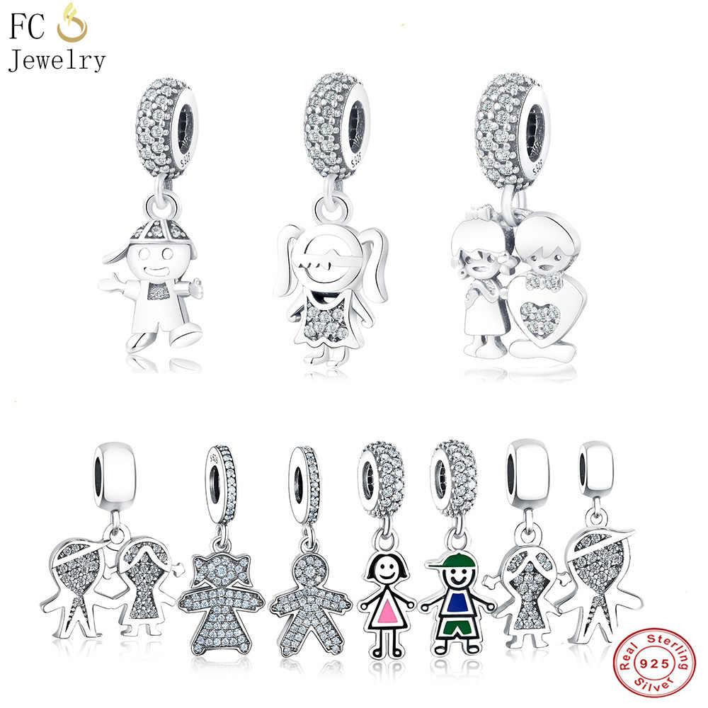 40a17eea5 FC Jewelry Fit Original Pandora Charm Bracelets 925 Sterling Silver Family  Enamel Boy Hip Girl CZ