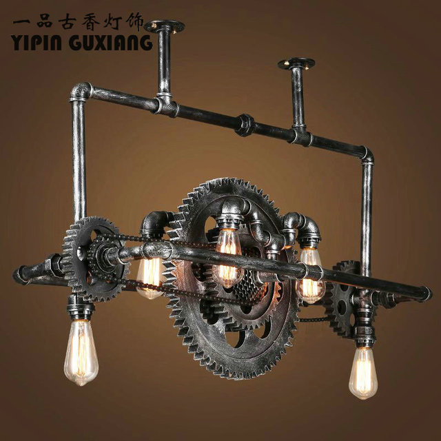 Loft Retro Pendant Light Vintage Industrial Lamp Nordic Metal Wheel Lights  Loft Dining Room Lighting For Chirstmas Wedding Decor