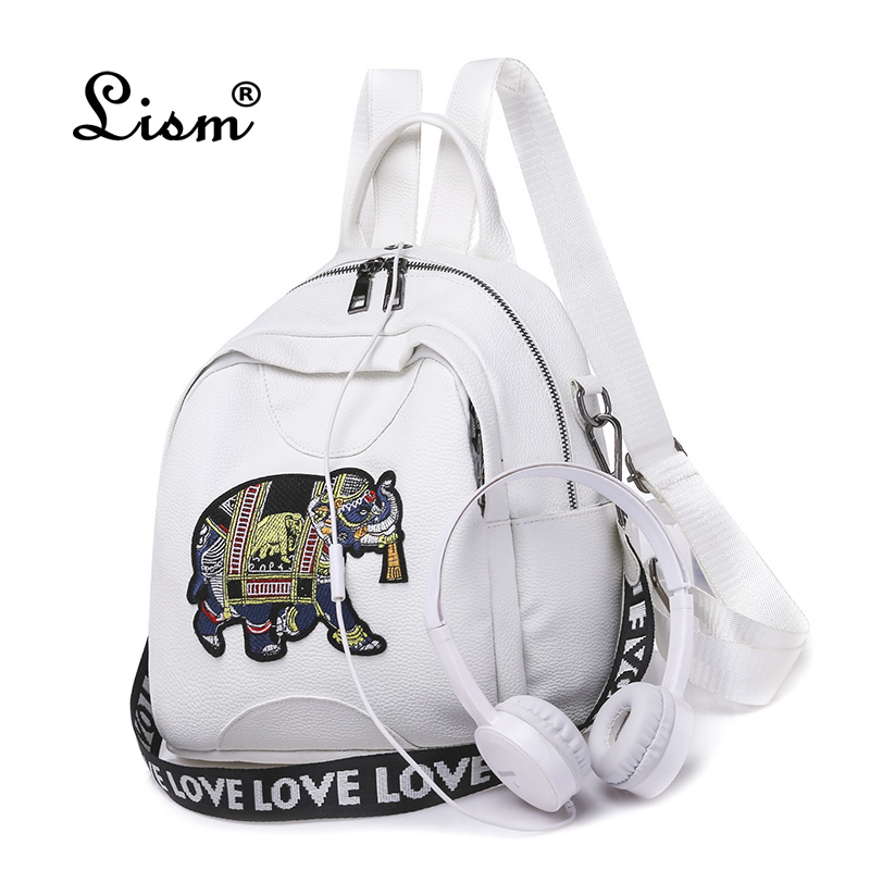2018 New  Fashion Elephant  Backpack Leather High Quality School Bag Shoulder Bag For Youth Bags Leather Student Backpack