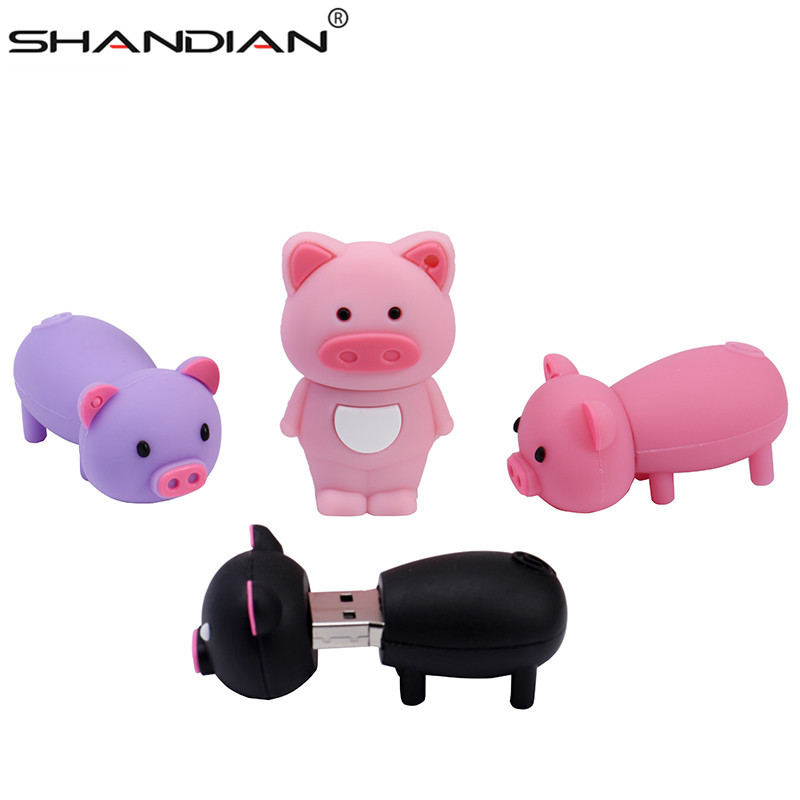 SHANDIAN Pen Drive Cartoon Pink Pig Pendrive 4GB 8GB 16GB 32GB 64GB Usb Flash Drive USB 2.0 Flash Memory Stick Disk on key Gift-in USB Flash Drives from Computer & Office