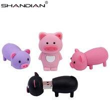 SHANDIAN Pen Drive con dibujo animado de cerdo rosa, Pendrive de 4GB, 8GB, 16GB, 32GB, 64GB, unidad Flash Usb 2,0, memoria Flash de disco en regalo clave