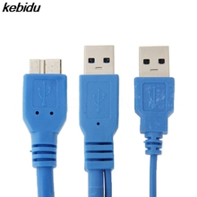 Kebidu 50 ซม.คู่ USB 3.0 A ถึง Micro B USB 3.0 Y สายเคเบิลสำหรับ Samsung Galaxy หมายเหตุ 3 III N9000 สำหรับ HDD Case สายเชื่อมต่อคอมพิวเตอร์