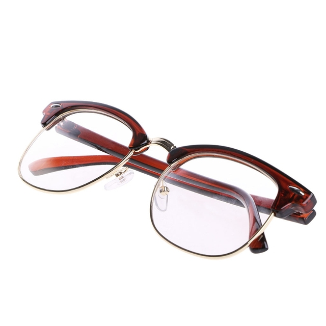 df62bc8895 Men Women Metal Half rimless Glasses Optical Eyeglasses Frame Clear Lens  Eyewear-in Eyewear Frames from Apparel Accessories on Aliexpress.com