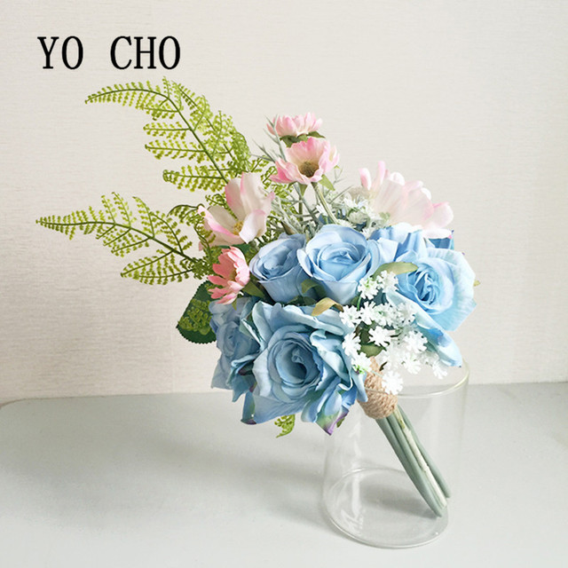 Yo Cho Fern Party Brautjungfer Bouquet Rose Grun Blau Vintage