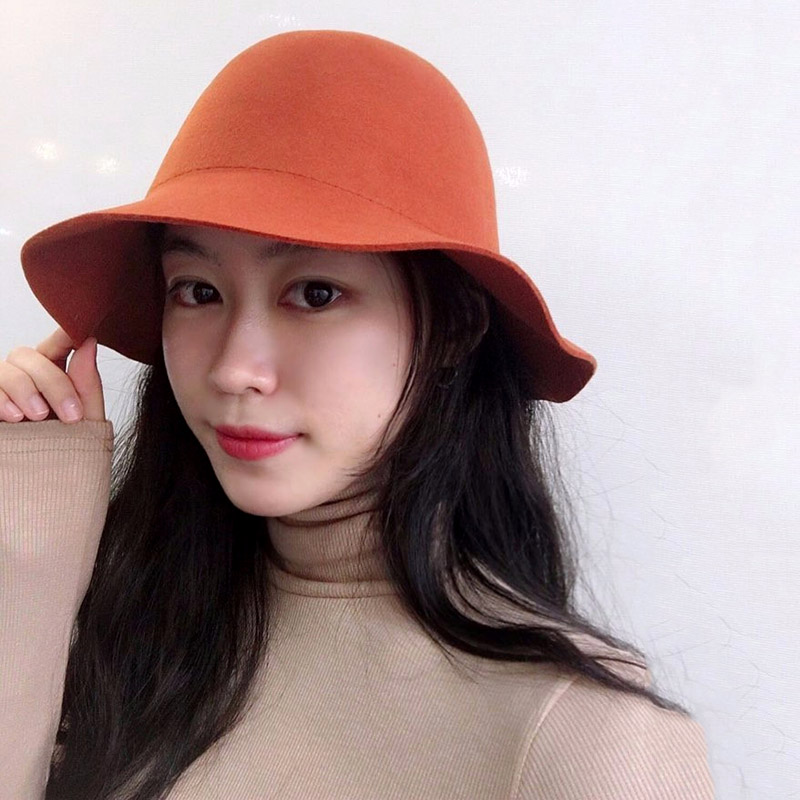 Winter Women Plain Wool Felt Cloche Hats Chapeau Round Top Bucket ... 4d848d3d1f43