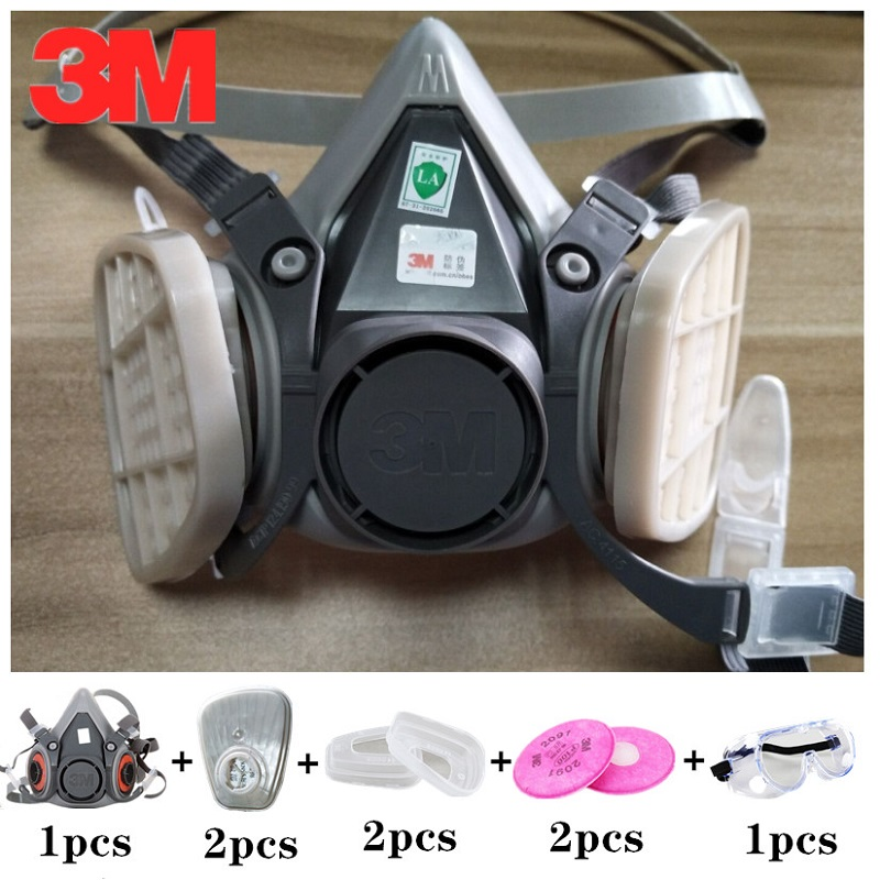 8 In 1 3M 6200 Dust Mask With SJL Dust Filters 2091 Anti-dust Respirator For Work Painting Spray Particulate PM2.5 Protect Mask