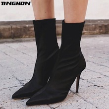 TINGHON Sexy Pointed Toe Stretch Fabric Sock Boots Solid High Heel Women Thin Ankle For