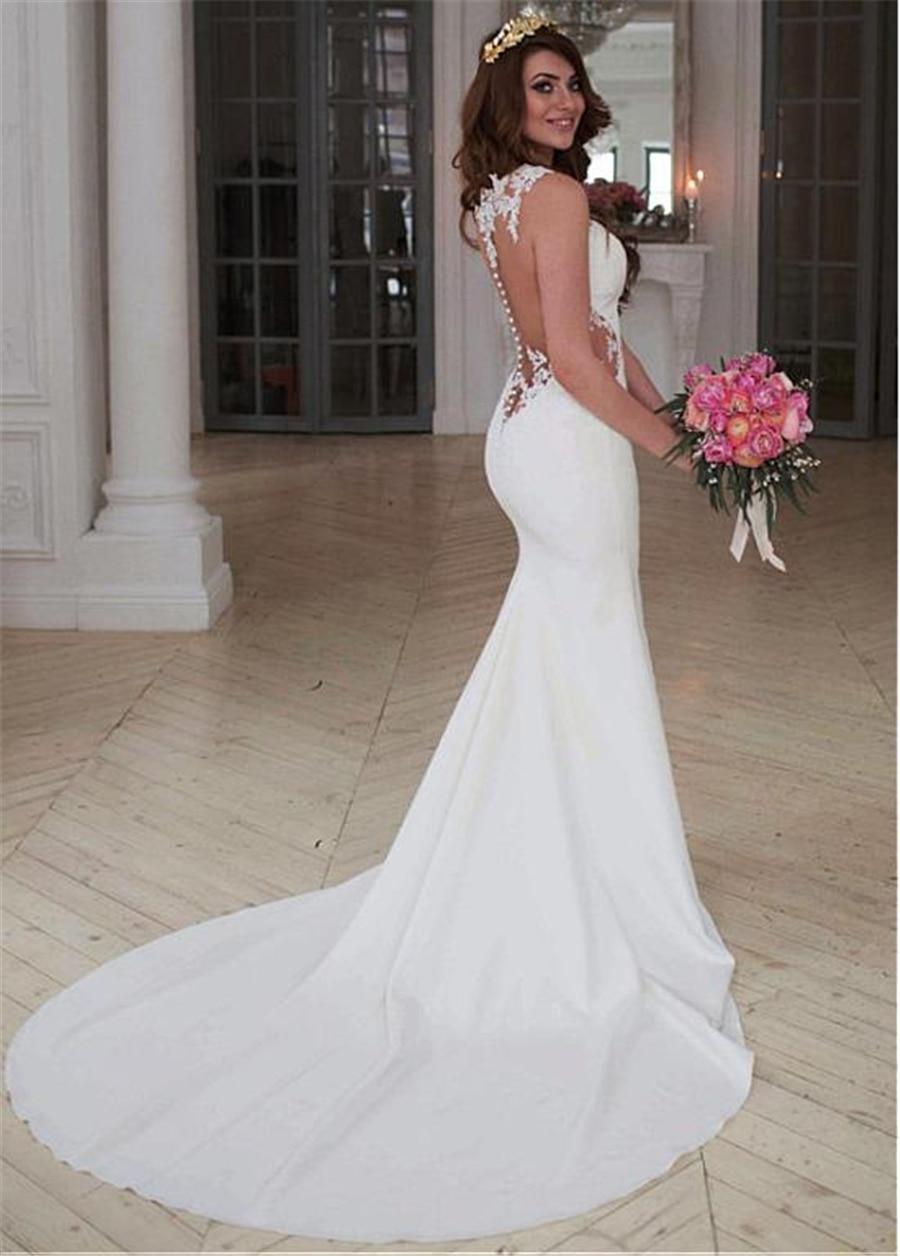 White Ivory Mermaid Wedding Dress Lace Appliques Sleeveless Illusion Back Button Bridal Dresses Boho Sofuge Vestido De Noiva