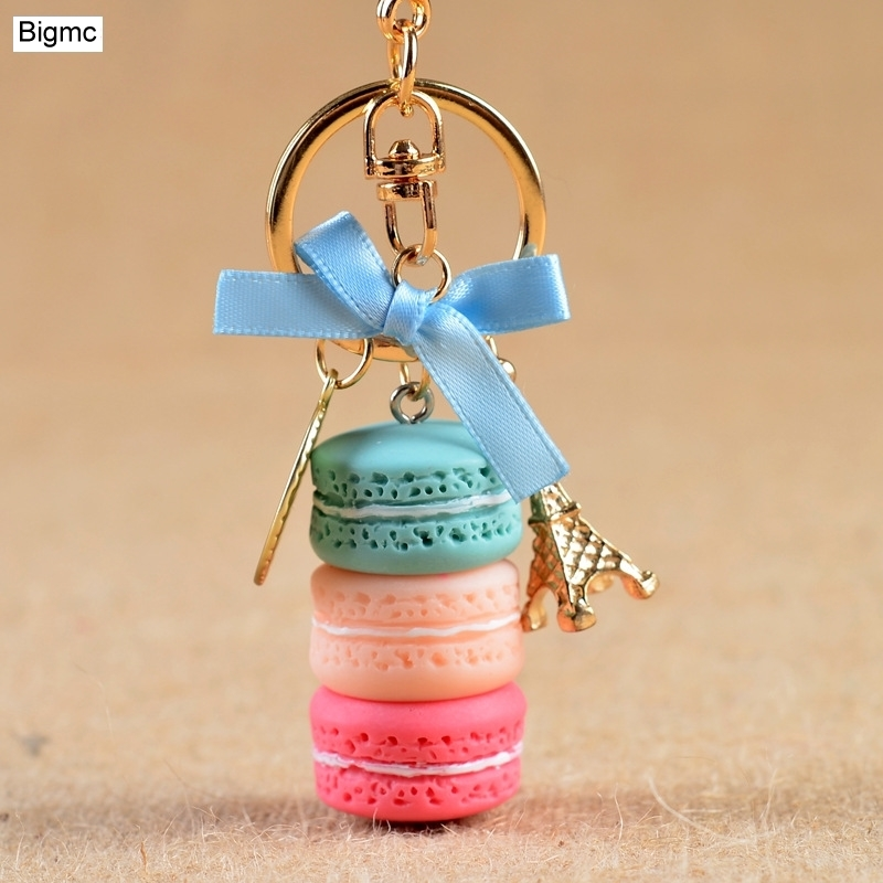 Macarons Cake Key chain nice cute France Cake Macarons LADUREE Keychain car Key Ring women bag Pendant gift Jewelry 17278