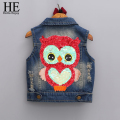 HE Hello Enjoy girls outerwear 2016 Autumn girls clothes children Cartoon Owl Appliques Coat Cowboy Waistcoats Length Jacket
