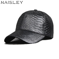 NAISLEY Pu Leather Baseball Cap Snapback Hat Fashion Trend Hats For Women Men Snake Skin Pattern
