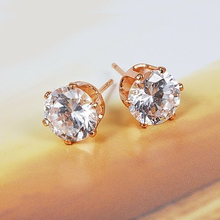 Women's 18K Real Gold Plated & 6 Prongs 8MM 2.2 CT Round Brilliant Cut Grade AAA Cubic Zircon Diamond Stud Earring (111103-09)