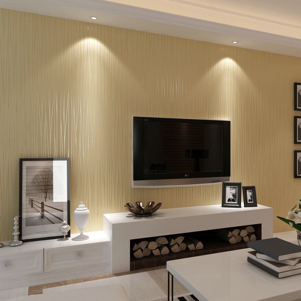 ФОТО 2016 new best selling contemporary stripe 3d non-woven wallpaper sitting room bedroom TV setting wall stickers plain coloured