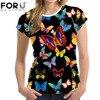 FORUDESIGNS Top Women Shirt 3D Beauty Butterfly Printed T Shirt For Ladies T Shirt Women Summer