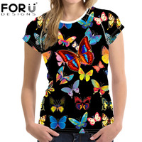 FORUDESIGNS Top Women Shirt 3D Beauty Butterfly Printed T Shirt For Ladies T Shirt Women Summer