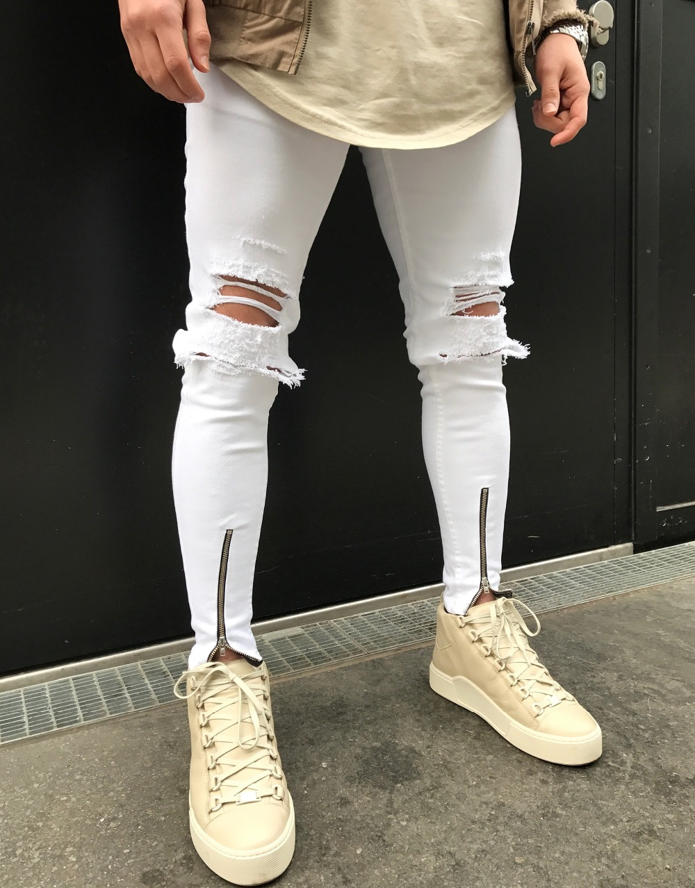 New Dropshipping Men Ripped Hole Stretch Skinny Jeans Urban Classic Fashion Destroyed Distressed Ankle Zipper Men Jeans