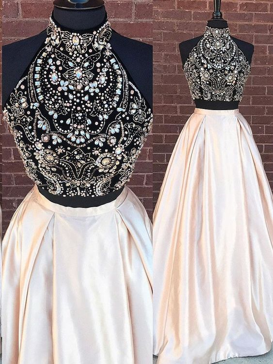 Fashion New 2 Piece   Prom     Dress   Long Beaded Halter Sleeveless Satin Evening Party Gown