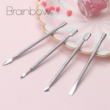 Brainbow 4pcs/pack Nail Cuticle Pusher Stainless Steel Two Sided UV Gel Cuticle Removal Dead Skin Pusher Nail Art Manicure Tools