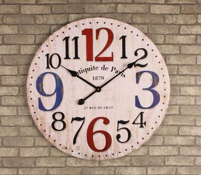 Rustic Kitchen Clock Painted Chairs 021391 14 Inch Wooden Wall Large Shabby Chic Times Quatz Home Antique Style
