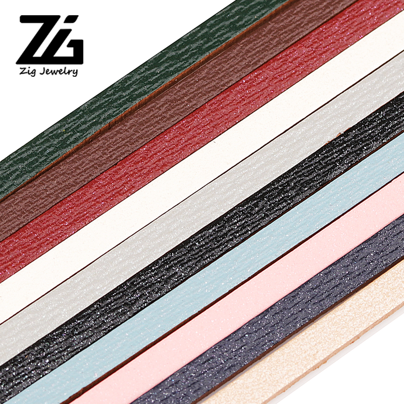 ZG 3mm Flat PU Leather Cord & Rope Diy Jewelry Findings Accessories Fashion Jewelry Bracelets Making Materials