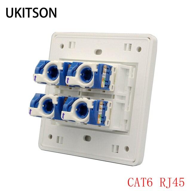 """4 יציאות חתול 6 RJ45 מחשב Ethernet מחבר לוח מערבולת חוט C6 UTP אינטרנט לוחית 86x86 מ""""מ"""