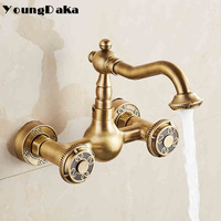 New Arrivel Double Handle Bathroom Faucet Basin Carved Tap Antique Brass Hot And Cold Kitchen Water