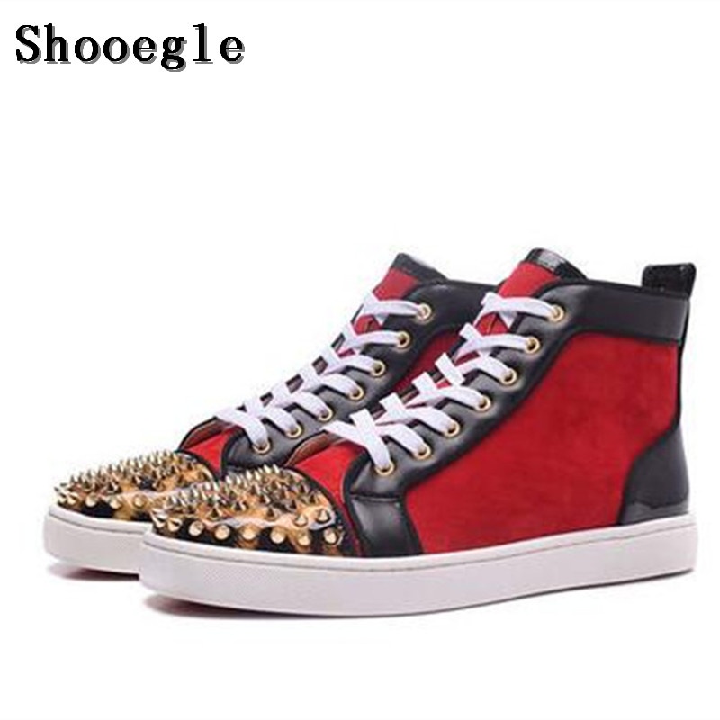 SHOOEGLE High Quality Red Black Patchwork Rivets Men Shoes Studs Lace up Sneakers Men Hightop Flat