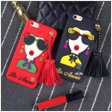 Sunglasses Modern Girl Goddess Rivet Tassels Phone Case Cover Korea Fashion Super Hot 3D Soft TPU For Iphone 7 6 6S 8 Plus(China)
