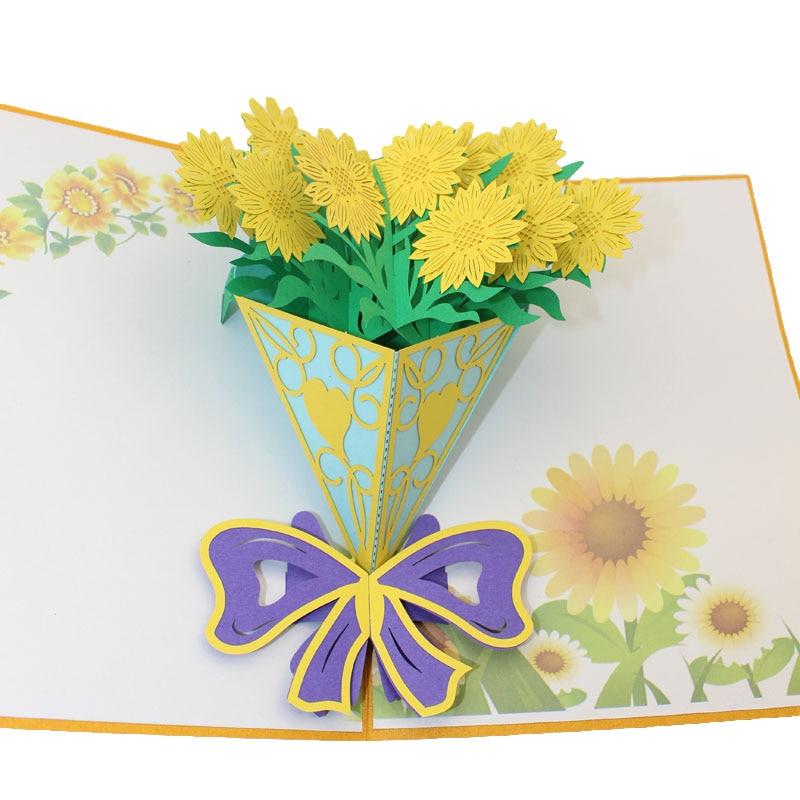 1 Stücke Diy Kreative 3d Geburtstag Urlaub Chrysantheme Grußkarte Mode Gehobenen Karton Für Hochzeitsgeschenk Einen Effekt In Richtung Klare Sicht Erzeugen