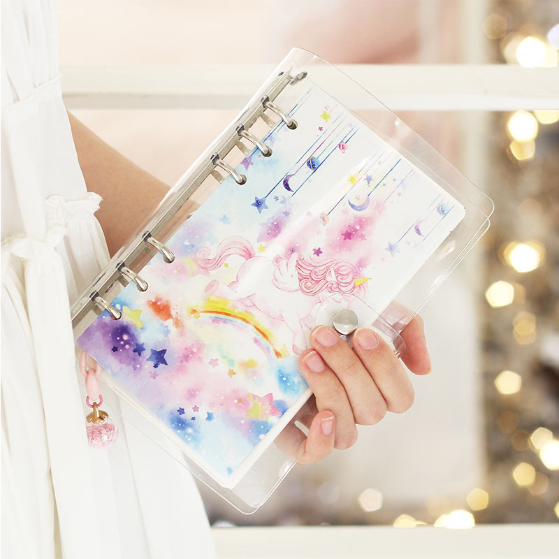 A5 A6 Yiwi One Set Ins Girl Favorite Transparent PP Planner Cherry blossoms Flower Sea Unicorn Set 6 loose Leaf Notebook Diary A5 A6 Yiwi One Set Ins Girl Favorite Transparent PP Planner Cherry blossoms Flower Sea Unicorn Set 6 loose Leaf Notebook Diary