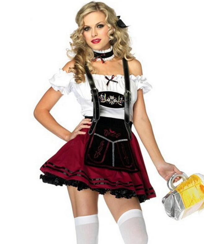 Womens German Traditional Dirndl Dress Oktoberfest Beer Maid 1