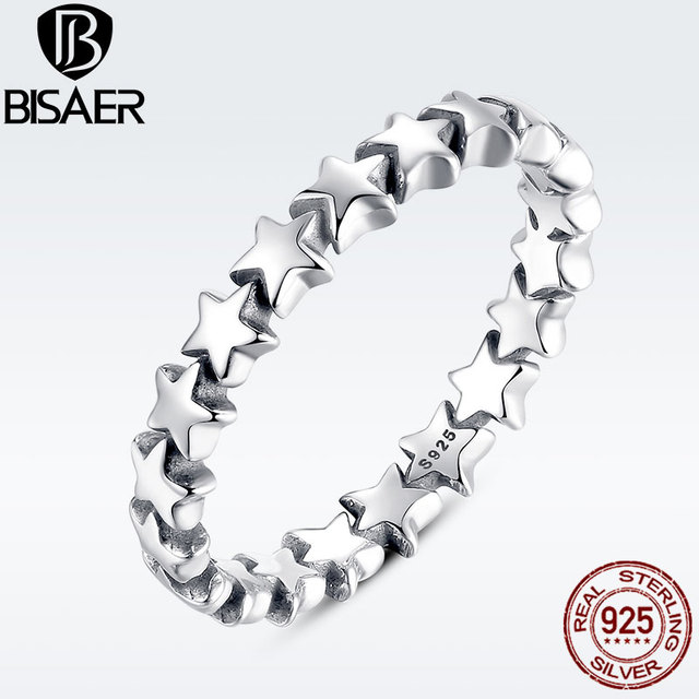 BISAER 100% 925 Sterling Silver Star to Star Stackable Finger Rings for Women We
