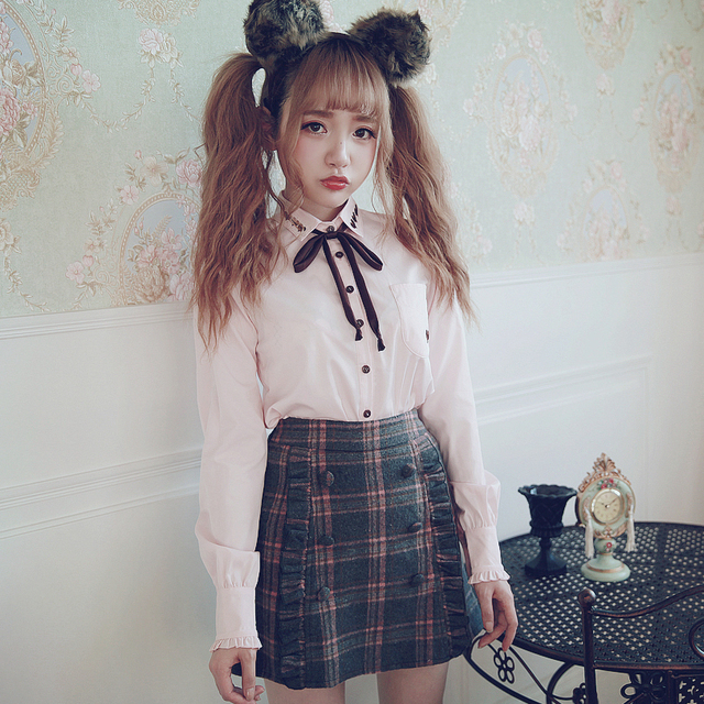 Princess sweet lolita lovely sweet shirt BOBON21S College style love embroidery comfortable shirt Tencel like weet girl T1410