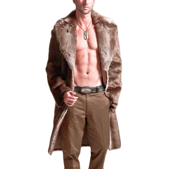 Men Faux Fur Coat Winter Plus Size Faux Fur Coat Men Parka Jackets Full Length Leather Overcoats With Collar Long Fur Coat Man