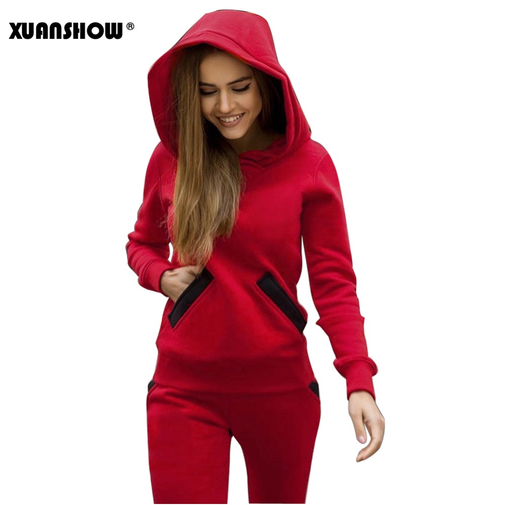 XUANSHOW 2018 Fashion Autumn Winter Women Tracksuits Outfits Big Hat Sweatshirts+Slim Full Pants 2 Piece Set Pockets Female Set