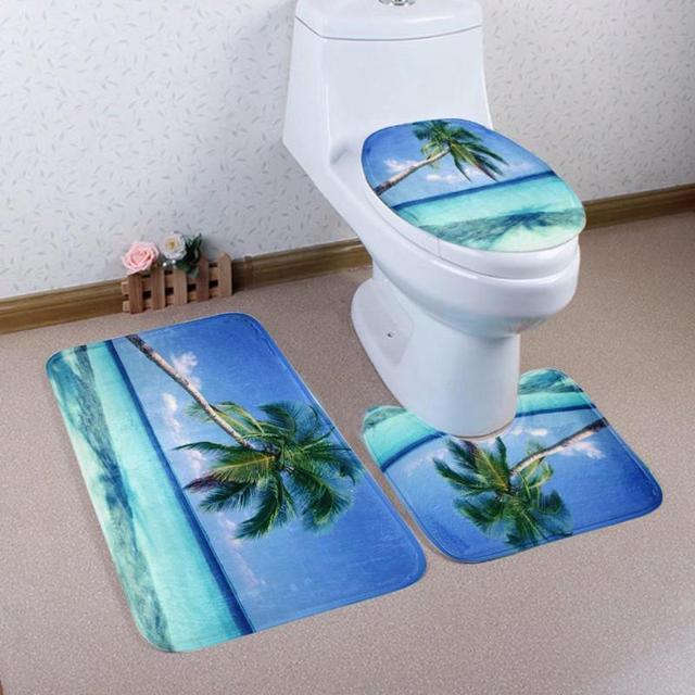 3pcs/set Bath Mat Non Slip Water Absorb Floor Rug Bathroom Carpet Washable Toilet Rugs U Shape Pad Bathroom Products