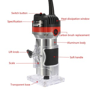 Image 4 - Qualidade 220v 35000rpm 530w 1/4 electric laelétrica mão trimmer laminador de madeira roteador conjunto de ferramentas